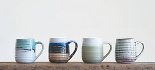 Large Multicolor Stoneware Mugs with Ribbed Sides (Set of 4 Colors), , rollover