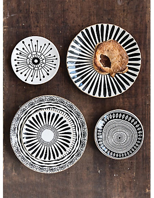 "8"" Round Black and White Stoneware Plate with Gold Electroplating (Set of 4 Patterns), , rollover"