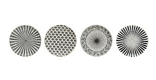 "8"" Round Black and White Stoneware Plate with Gold Electroplating (Set of 4 Patterns), , large"