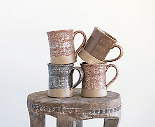 Stoneware Mug with Reactive Glaze Finish (Set of 4 Colors/Each one will vary), , rollover