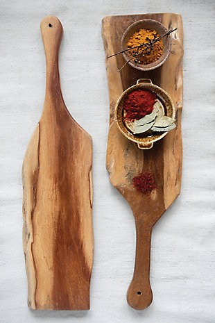 """30-1/2""""L x 8""""W Acacia Wood Cheese/Cutting Board with Live Edge and Handle (Each One Will Vary), , rollover"""