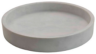 """12"""" Round x 2""""H Marble Tray, White, , rollover"""