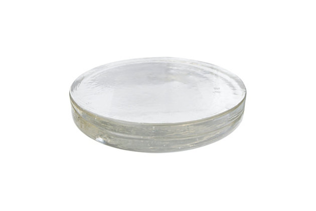 """12"""" Round x 2""""H Recycled Glass Serving Tray/Candle Plate, Clear, , large"""