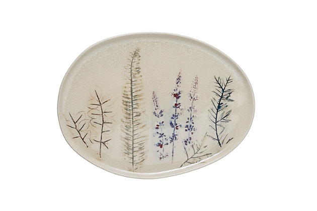 """Creative Co-Op 13-1/2""""L x 10-1/4""""W Oval Stoneware Debossed Floral Platter, Reactive Crackle Glaze (Each One Will Vary), , large"""