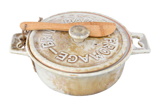 3-Piece Stoneware Brie Baker with Lid and Bamboo Spreader (Set of 2 Bakers/Colors/Each one will vary), , large