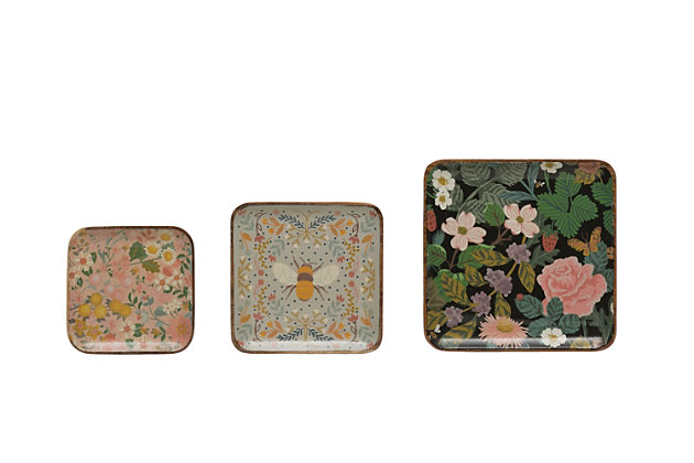 """Creative Co-Op 10"""" Square, 8"""" Square and 6-1/2"""" Square Enameled Acacia Wood Trays with Florals and Bee, Set of 3, , large"""