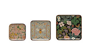 """10"""" Square, 8"""" Square and 6-1/2"""" Square Enameled Acacia Wood Trays with Florals and Bee, Set of 3, , large"""