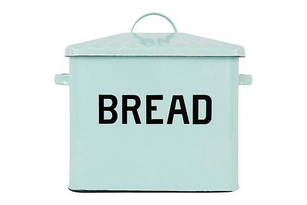 """13-1/2""""L Enamel Bread Box, Light Blue, Blue, large"""