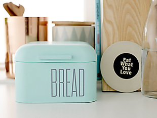 "8"" Square x 5-1/4""H Metal Bread Bin, Mint Color, , rollover"