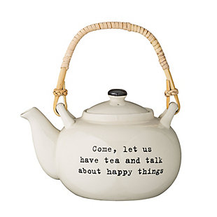 "7-1/2""L x 5""H 32 oz. Stoneware Josephine Teapot with Bamboo Wrapped Handle, , rollover"