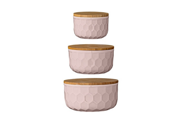 """4"""", 5"""" and 6"""" Round Stoneware Bowls with Bamboo Lid, Pink, Set of 3, Pink, large"""