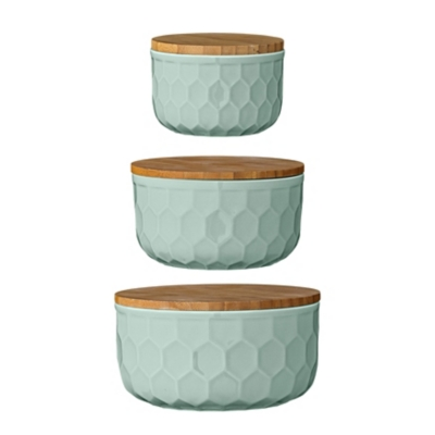 """4"""", 5"""" and 6"""" Round Stoneware Bowls with Bamboo Lid, Mint, Set of 3, Green, large"""