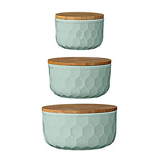 "4"", 5"" and 6"" Round Stoneware Bowls with Bamboo Lid, Mint, Set of 3, Green, rollover"