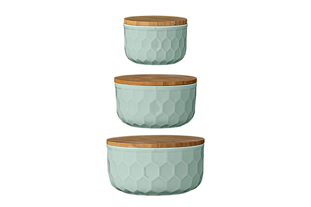 "4"", 5"" and 6"" Round Stoneware Bowls with Bamboo Lid, Mint, Set of 3, Green, large"