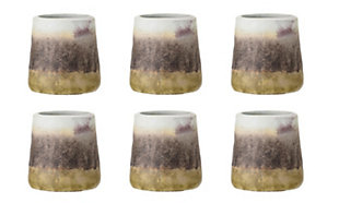 Stoneware Cup with Reactive Glaze Finish (Set of 6 Pieces / Each one will vary), , large