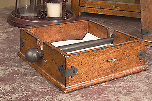 "9-1/2"" Square Wood and Metal Dinner Napkin Holder, , rollover"