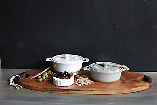 "7""Round Stoneware Brie Baker with Wood Spreader, 2 Color, , rollover"