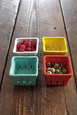"Creative Co-Op 4-1/4""L x 4""W Stoneware Basket, 4 Colors, , rollover"