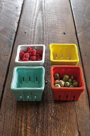"Creative Co-Op 4-1/4""L x 4""W Stoneware Basket, 4 Colors, , large"