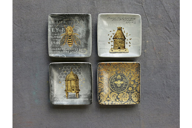 """Creative Co-Op 4"""" Square Stoneware Plate with Bees, 4 Styles, , large"""