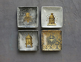 "4"" Square Stoneware Plate with Bees, 4 Styles, , large"