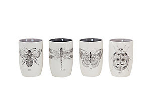 Stoneware Tumblers with Insect Images (Set of 4 Designs), , rollover