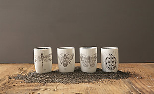 Stoneware Tumblers with Insect Images (Set of 4 Designs), , large