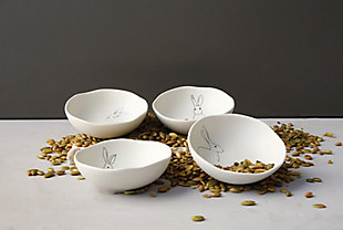 White Stoneware Bowls with Rabbit Drawings (Set of 4 Designs), , large