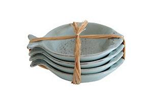 """5-3/4""""L Ceramic Fish Dishes, Aqua, Set of 4, , rollover"""