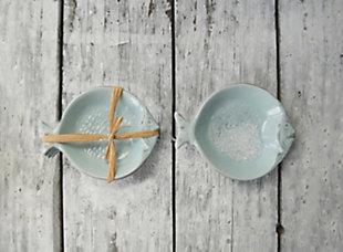 "5-3/4""L Ceramic Fish Dishes, Aqua, Set of 4, , large"