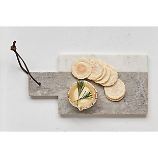 "12""L x 6""W Marble Cheese/Cutting Board with Leather Tie, Gray and White, , rollover"