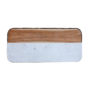 "15-1/2""L x 7-1/4""W White Marble and Mango Wood Cheese/Cutting Board with Bark Edge (Each One Will Vary), , large"