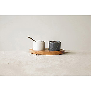 """8""""L x 4-1/4""""W Mango Wood Tray with 2 Marble Bowls with Brass Spoon, White and Black, Set of 4, , rollover"""