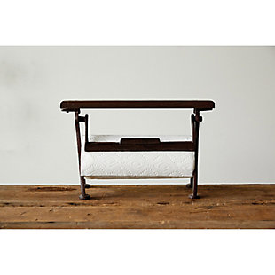"""15-1/2""""L x 6-1/2""""W x 9-1/2""""H Cast Iron and Wood Paper Towel Holder, Rust Finish, KD, , rollover"""