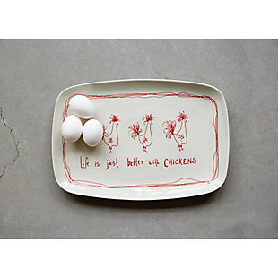 """14-3/4""""L x 10""""W Stoneware Platter """"Life Is Just Better With Chickens"""", , rollover"""