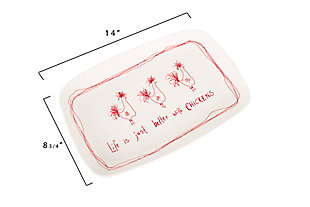 """14-3/4""""L x 10""""W Stoneware Platter """"Life Is Just Better With Chickens"""", , large"""