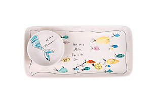 """11-3/4""""L x 5-3/4""""W Stoneware Platter and 4"""" Round Dish with Fish and Mermaid, Set of 2, , rollover"""