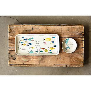 """11-3/4""""L x 5-3/4""""W Stoneware Platter and 4"""" Round Dish with Fish and Mermaid, Set of 2, , large"""