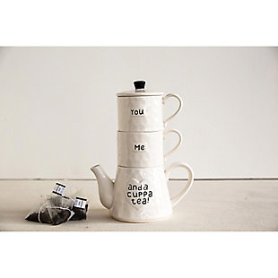 """7-3/4""""L x 10""""H 20 oz. Stoneware Stackable Teapot and (2) 8 oz. Mugs, White, Set of 3 """"You Me And A Cuppa Tea!"""", , large"""