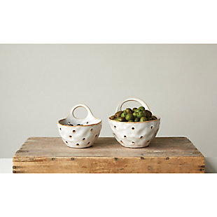 "8""L Stoneware Colanders with Handle, Reactive Glaze, Cream Color, Set of 2 (Each One Will Vary), , rollover"