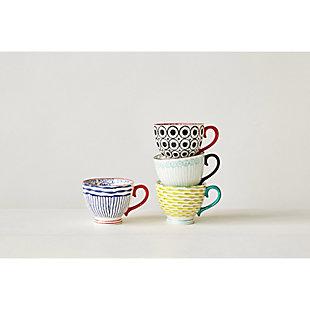 """3-1/2""""L Stoneware Hand Painted Mug, 4 Styles, , large"""