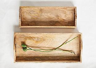 "17-1/2""L x 8""W and 15""L x 5-1/2""W Rectangle Mango Wood Trays, Set of 2, , large"