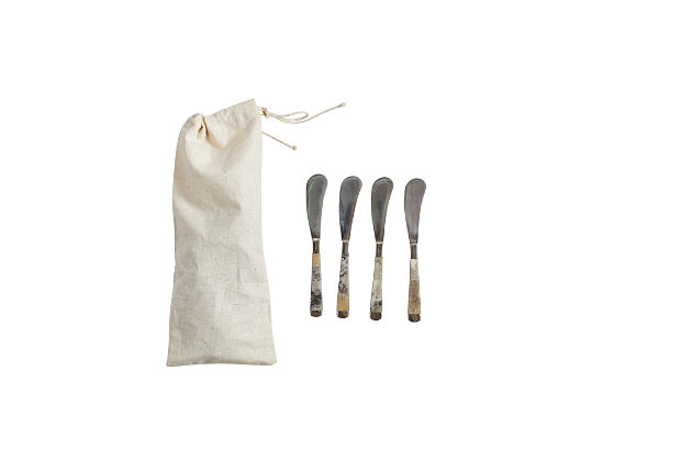 """6-1/4""""L Stainless Steel Canape Knives with Horn Handle, Set of 4 in Drawstring Bag, , large"""