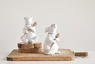 "5""L x 4-1/2""W x 7""H Ceramic Bear Honey Pot with Bamboo Honey Dipper, White, Set of 2, , large"