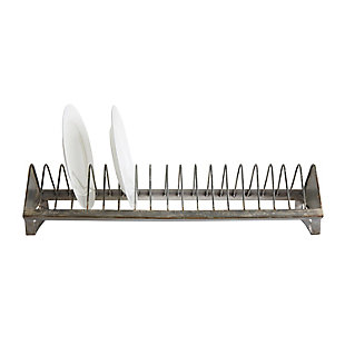 "24""L x 6""W x 5-1/2""H Metal Plate Rack, Zinc Finish (Holds 18 Plates), , large"