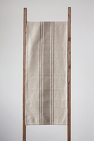 """72""""L x 14""""W Woven Cotton Canvas Table Runner with Stripes, Black, Brown, rollover"""