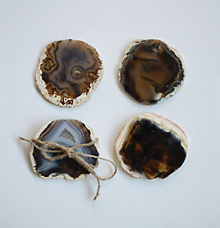 "4"" Round Agate Coasters, Brown, Set of 4 (Each One Will Vary), , large"