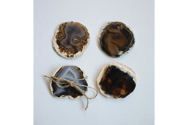 """4"""" Round Agate Coasters, Brown, Set of 4 (Each One Will Vary), , large"""