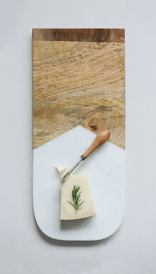 """17-1/2""""L x 7-1/2""""W Marble and Mango Wood Cheese/Cutting Board with Canape Knife, Set of 2, , large"""