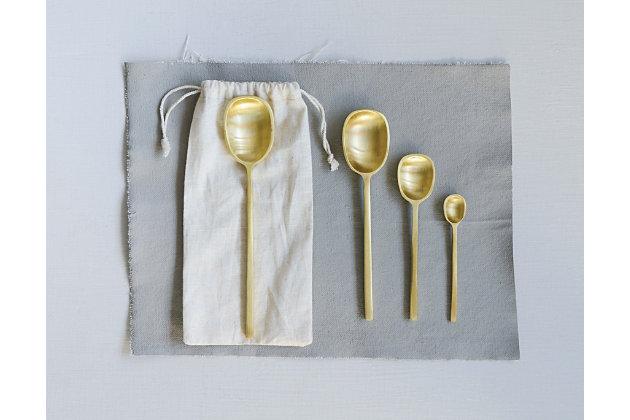 "7-1/2""L Brass Spoons, Set of 4 in Drawstring Bag, Gold, large"